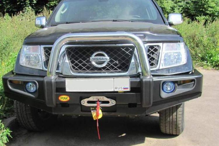 Передний стальной бампер под лебедку Nissan Navara D40 купить россия доставка
